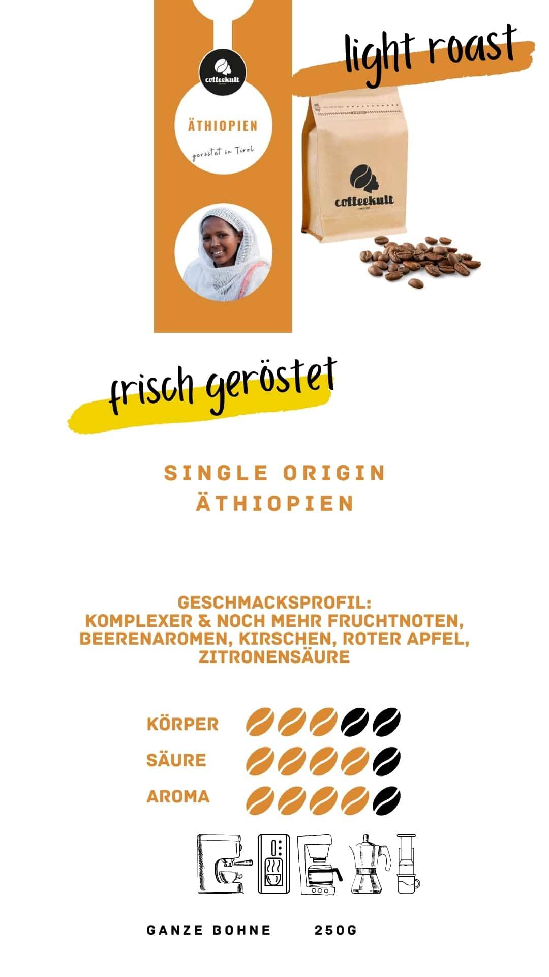 coffeekult coffee frisch geröstet barista kaffeerösterei innsbruck arabica bohnen äthiopien light roast