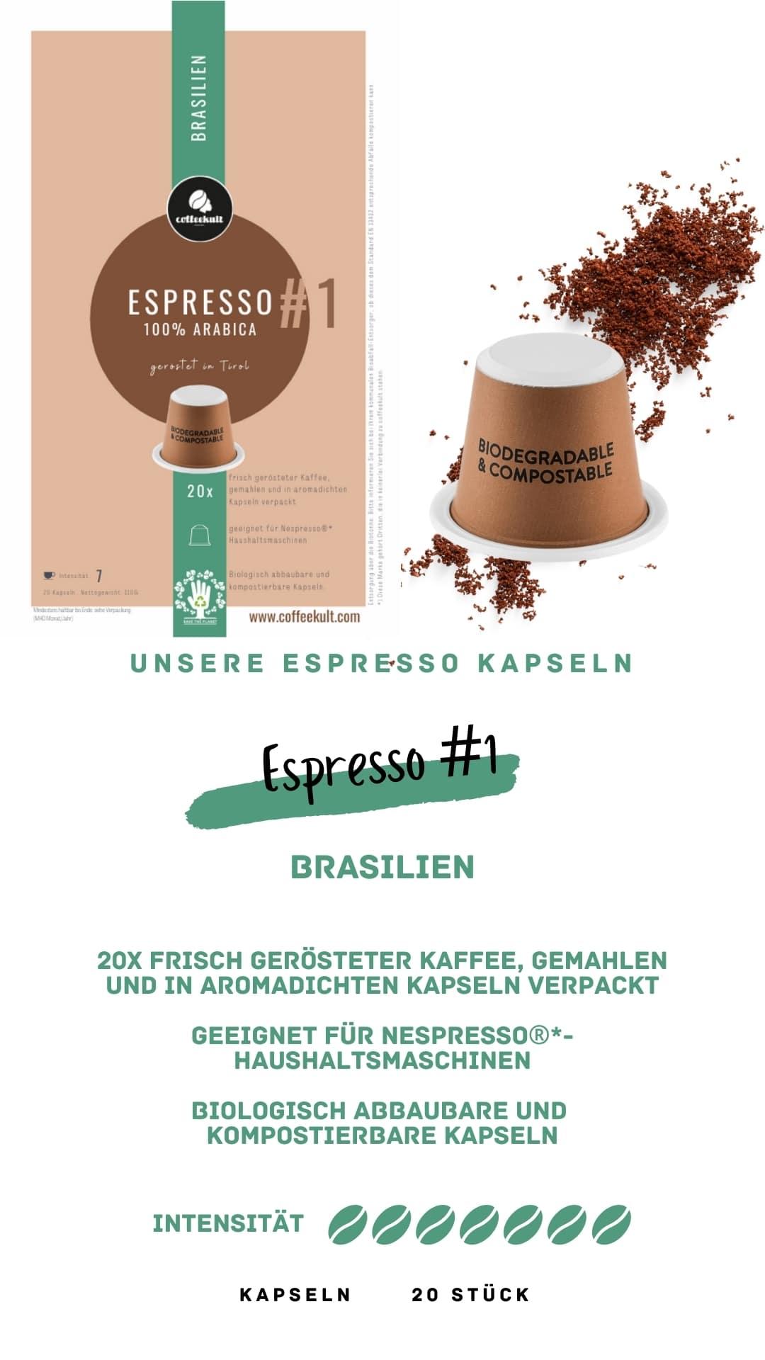 coffeekult coffee frisch geröstet barista kaffeerösterei innsbruck arabica bohnen brasilien espresso kapseln