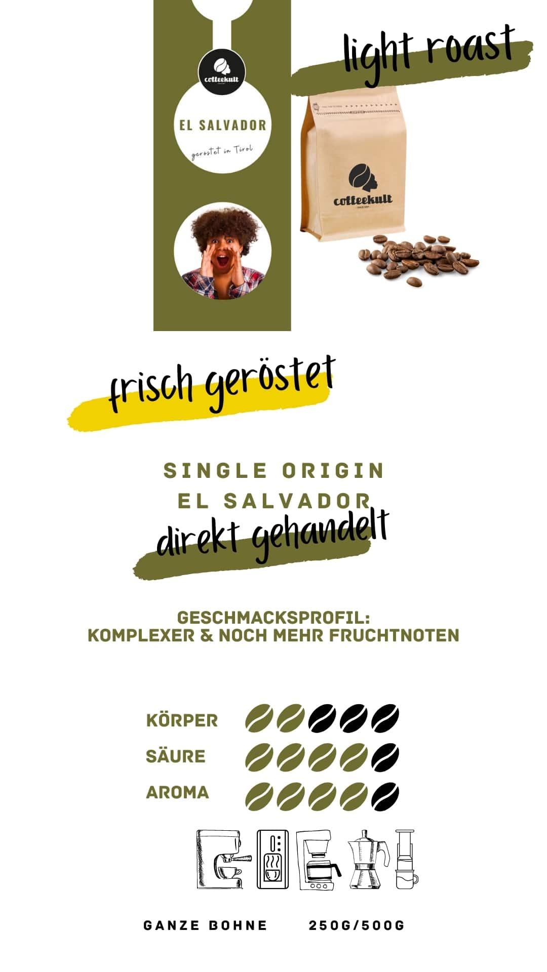 coffeekult coffee frisch geröstet barista kaffeerösterei innsbruck arabica bohnen el salvador light roast