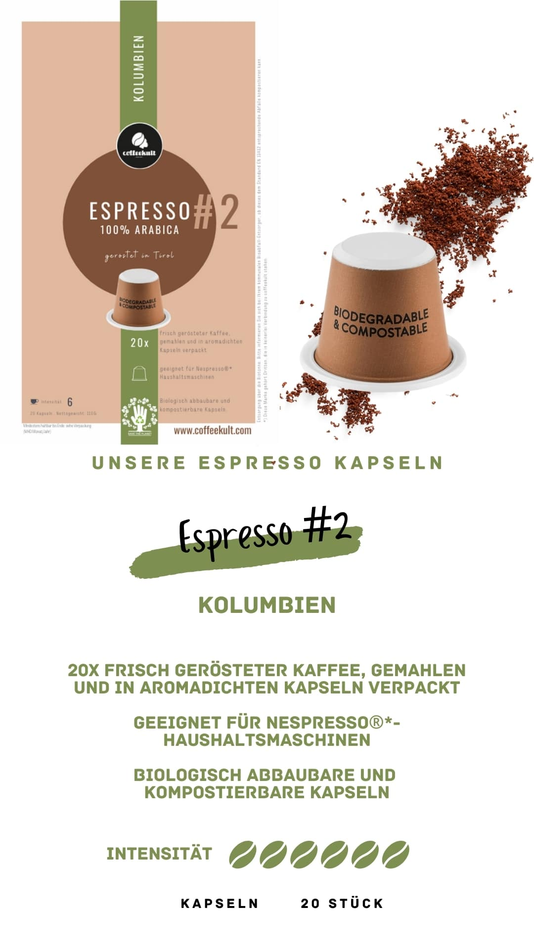 coffeekult coffee frisch geröstet barista kaffeerösterei innsbruck arabica bohnen kolumbien espresso kapseln