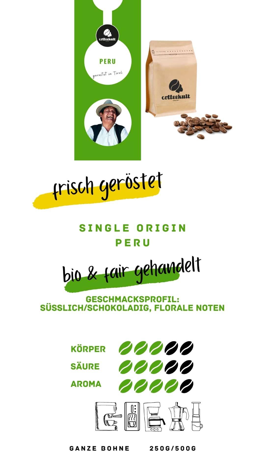 coffeekult coffee frisch geröstet barista kaffeerösterei innsbruck arabica bohnen peru