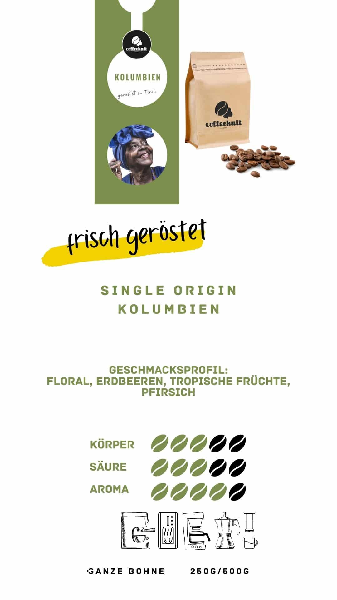 coffeekult coffee frisch geröstet barista kaffeerösterei innsbruck arabica bohnen kolumbien neu